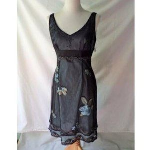 ADRIANNA PAPELL Embroidered Sequin Mesh Dress Sz 8